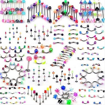 110pcs Wholesale Bulk lots Body Piercing Eyebrow Jewelry Belly Tongue Bar Ring