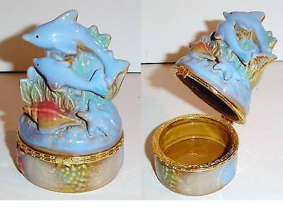 DOLPHINS ON WAVES HINGED TRINKET BOX HOME DECOR NEW!