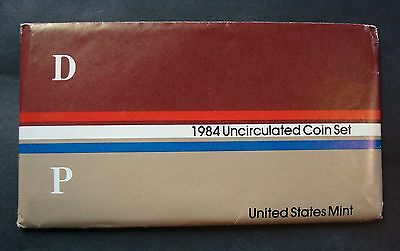 1984-P+D Uncirculated Mint Set Pristine Packaging Ten Coins Sealed In Cellophane