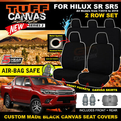 BLACK TUFF Canvas Seat Covers for Toyota Hilux Dual Cab SR5 SR 2ROWs 10/2015-19