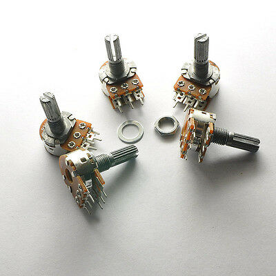 10pcs single/double  potentiometer 15/20mm 3/6feet 5/10/20/100/50/250/500k