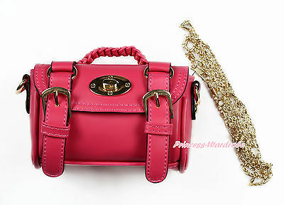 Hot Pink Faux Leather Metal Chain Double Buckle Kids Shoulder Shopping Handbag