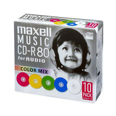 10 Maxell JAPAN Blank CD-R for Audio Music CDR 80min Color Mix CDRA80MIX.S1P10S