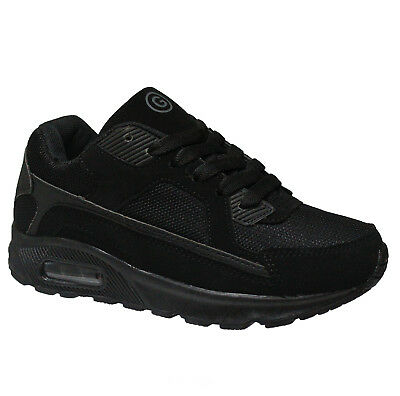 Boys Black Trainers Kids Girls Canvas Pe Pumps Shcool Shoes Boots Sizes 13-6Uk