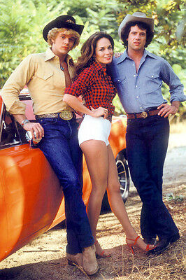 Dukes Of Hazzard 24X36 Photo Poster Cast By General Lee Car