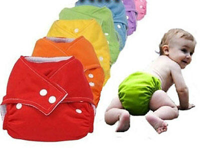 3 x Reusable Modern Cloth Nappies + 6 Inserts 7 Colours Universal 1 Size For All