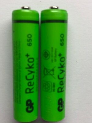 2 x GP AAA 650mAh RECHARGEABLE NiMh BATTERIES DECT PHONE CORDLESS