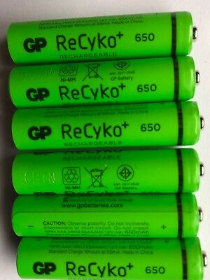 6 x GP AAA 650mAh RECHARGEABLE NiMh BATTERIES DECT PHONE CORDLESS