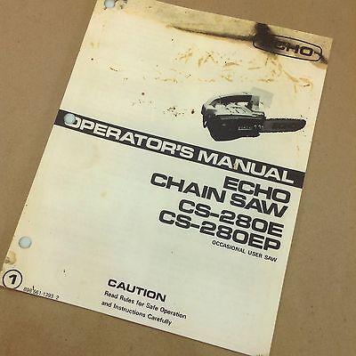 Echo Cs-280E Cs-280Ep Chainsaw Operators Owners Manual Chain Saw Maintenance Oil