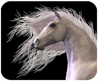 Mouse Pad Custom Personalized Thick Mousepad-White Horse On Black-Any Text