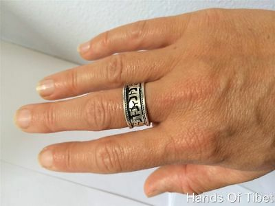 Handmade Silver Plated Buddha of Compassion Ring from Nepal