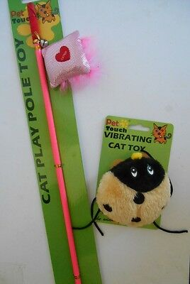 Vibrating Cat Kitten toy & Fishing Rod Catnip teasing exercise fluffy cat toy
