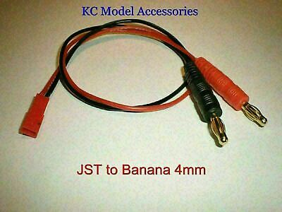 JST Female to 4mm Banana Bullet Connectors Charge Lead 360mm Long