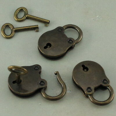 Old Vintage Antique Style Mini Padlocks Key Lock (Lot of 3)