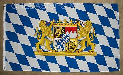 3'x5' Free State of Bavaria Germany Flag Coat Arms Banner Munich Oktoberfest 3X5