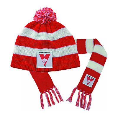 Sydney Swans AFL Footy Baby Toddlers Beanie Scarf Pack