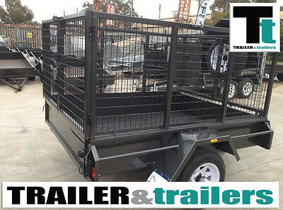 7x5 heavy duty single axle with 3 ft cage *NEW TYRES*
