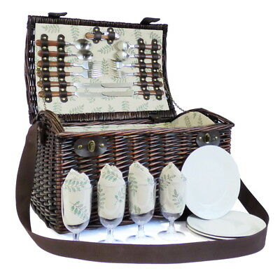 Deluxe Greenfield 4 Person Family Wicker Picnic Basket Hamper & Accessories Gift