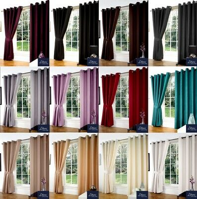 Luxury Faux Silk Slubbed Pair Curtains Eyelet, Ring Top, Lined Inc Tiebacks