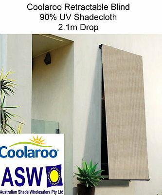 2.4m wide Coolaroo RETRACTABLE BLIND 2.1m drop SOUTHERN SUNSET 90% UV Shadecloth