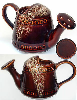 "Fosters Pottery: Dark Brown Honeycomb: Watering Can: 8½"" Long/4¼"" Tall"