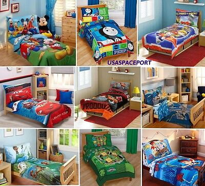 4-pc Boys TODDLER BEDDING SET Comforter + Sheets Childs Bed in a Bag Crib Disney