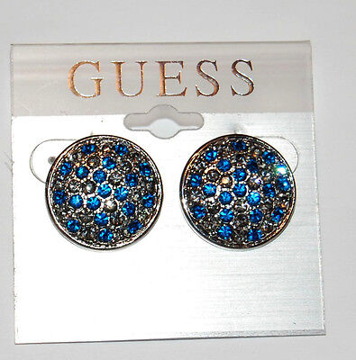 NWT Guess Silver Metal & Blue & Smoky Rhinestones Round Post Back Earrings