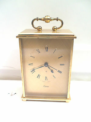 "Swiza Gilded Metal Case Winding Movement Carriage Style Mantle Clock 5.5""H 3.5""W"