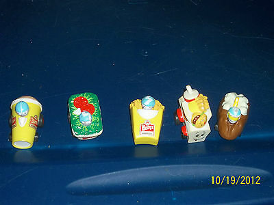 1990 WENDY'S PVC CAR LOT BAKED POTATO FROSTY SALAD KIDS MEAL FRENCH FRIES