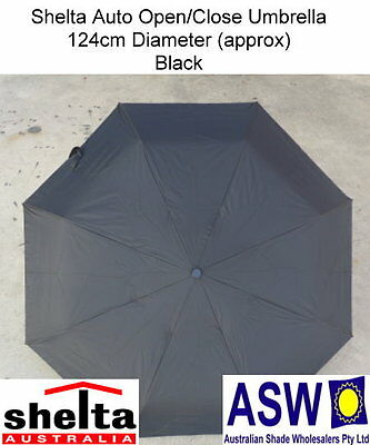 UPF25 BLACK SUPERSIZE Shelta Folding Umbrella Rain Auto Open 6999