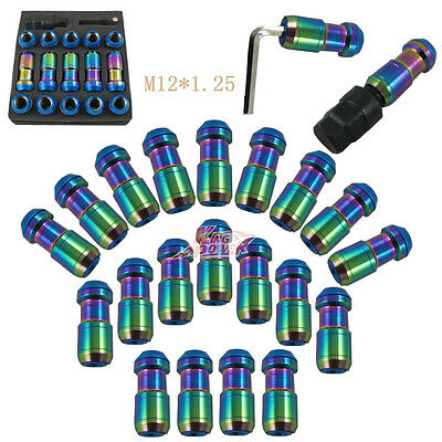 NEO CHROME M12x1.25 STEEL EXTENDED DUST CAP LUG NUTS WHEEL RIMS TUNER WITH LOCK