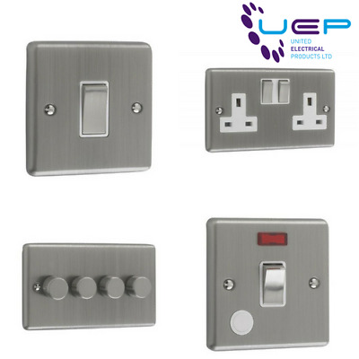Brushed Chrome Sockets and Switches White Trim (Windsor)