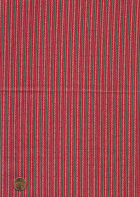 Antique 1880 Red & Black Stripe Pattern Fabric