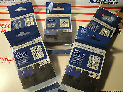 "5 COMPATIBLE 1/2"" 12mm BLACK INK ON WHITE LABEL TAPE  TZ 231 BROTHER 26.2ft"