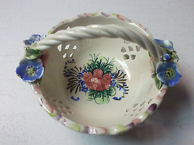 VINTAGE ~ PORCELAIN HANDLED  BASKET WITH FLOWERS ~ MADE IN ITALY