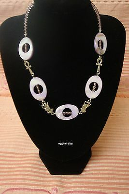 Egyptian made -SILVER  - ANKHS - RAMSES  -Mauve Beads   NEW Pharaonic