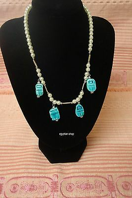 Egyptian made Necklace - Pearl and SCARABS - #725    NEW