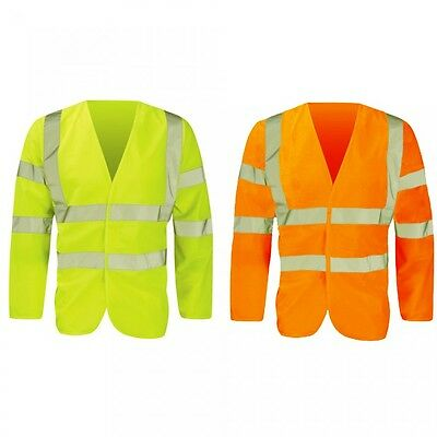 Flame Retardant Anti Static Long Sleeve Hi Vis Vest in Yellow or Orange Hi Viz