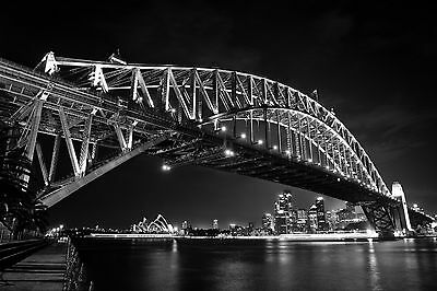 australian photo landscape art print SYDNEY harbour opera house black white
