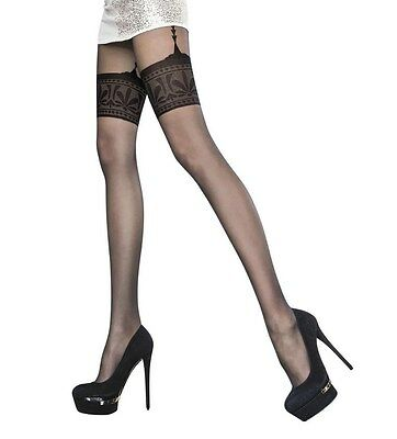 Fiore Collection Patterned Tights Designer Mock Suspender Stockings Tights NEW