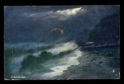 Maritime night life boat launch A Call for Help Tuck Oilette 9004 PPC used 1905