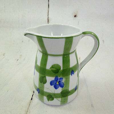 Andrea by Sadek_Blue Violets n Green Plaid_Milk Creamer Small Mini Pitcher
