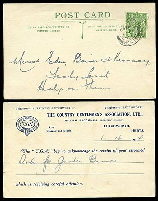 Gb Country Gentlemens Association 1914 Postcard Letchworth + Perfin