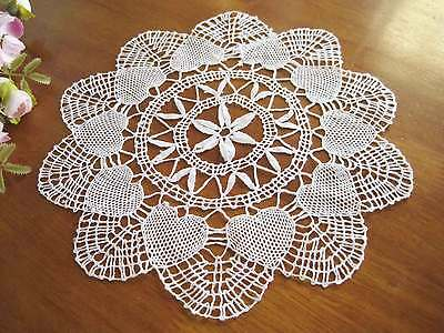 Vintage Heart Shape Hand Bobbin Lace Cotton White Doily