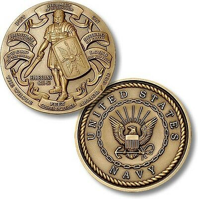 US Navy Armor of God Challenge Coin Ephesians Bible Verse Knight Shield USN Seal