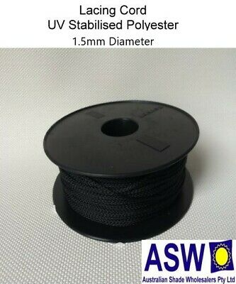 100m LACING CORD 2mm BLACK For Securing Shadecloth to Pipe and Steel Shade Cloth