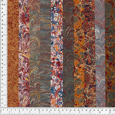 Handmade Marbled Paper Set of 10, 12.5x48cm 5x19in Bookbinding Restoration