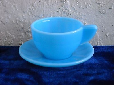Akro Agate Large Interior Panel Cup and Saucer  Azure Blue