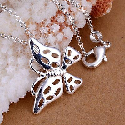 *Uk* 925 Silver Plt Hollow Butterfly Pendant Necklace Summer Dragonfly Moth Bug