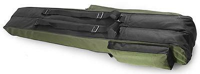 2 POCKETS 130cm FISHING HOLDALL BAG LUGGAGE for made up rods & reels GREEN BLACK